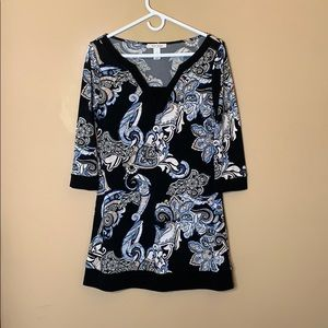 White House Black Market patterned tunic